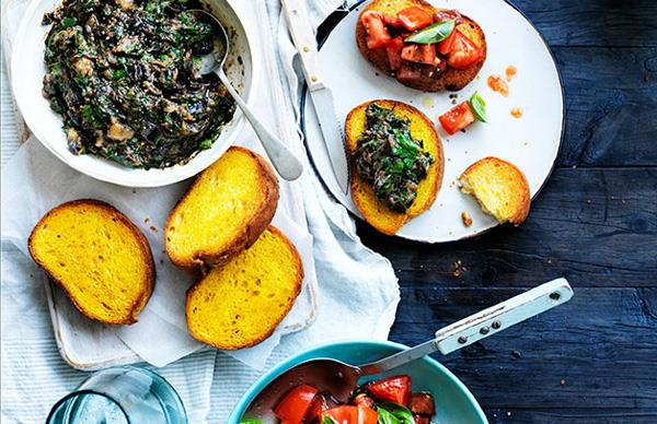 Butter-fried bread with eggplant and herbs