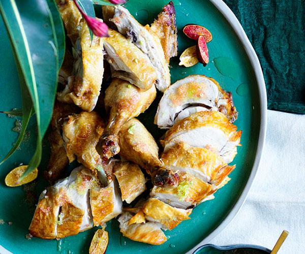 "**[Kylie Kwong's deep-fried chicken with finger-lime sauce](https://www.gourmettraveller.com.au/recipes/chefs-recipes/deep-fried-chicken-with-finger-lime-sauce-8617|target=""_blank"")**"