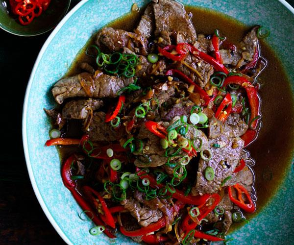 """**[Kylie Kwong's beef with black bean and chilli sauce](https://www.gourmettraveller.com.au/recipes/chefs-recipes/beef-with-black-bean-and-chilli-sauce-8621