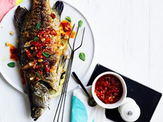 Barbecued barramundi with macadamia romesco