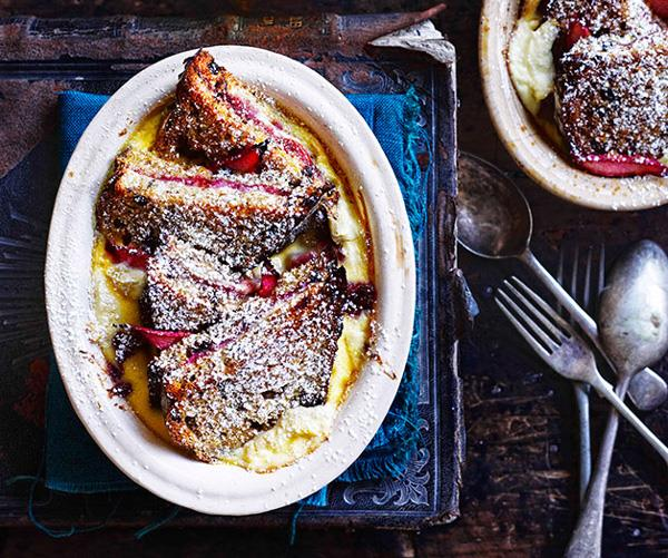 "**[Rhubarb and ricotta bread and butter pudding](https://www.gourmettraveller.com.au/recipes/browse-all/rhubarb-and-ricotta-bread-and-butter-pudding-11042|target=""_blank""