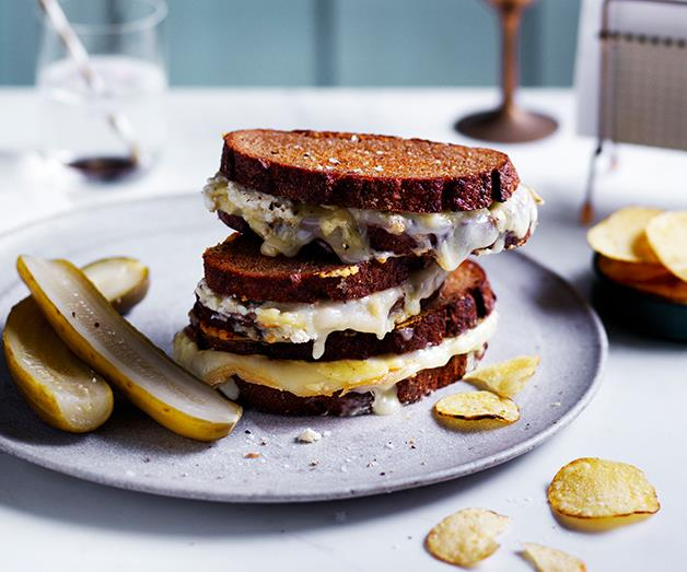 """**[Triple-cheese toastie](https://www.gourmettraveller.com.au/recipes/browse-all/triple-cheese-toastie-12596