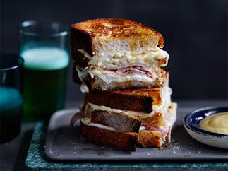 Five-cheese and ham triple-decker toastie