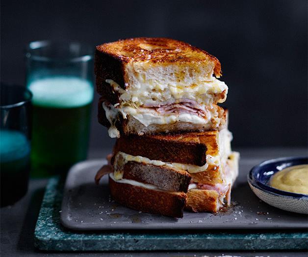 "**[Five-cheese and ham triple-decker toastie](https://www.gourmettraveller.com.au/recipes/fast-recipes/five-cheese-and-ham-triple-decker-toastie-13819|target=""_blank"")**"