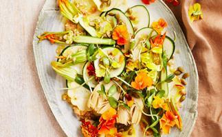 Raw zucchini, pine nut and miso salad