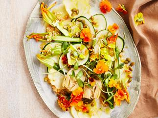 Raw zucchini, pine nut and miso salad