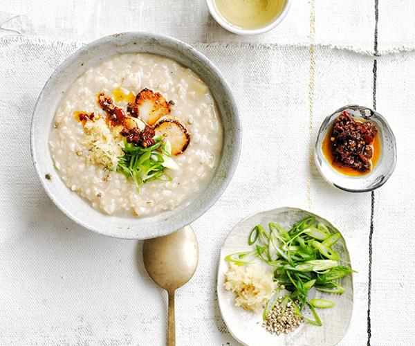 Brown rice congee with ginger and chilli-black bean sauce