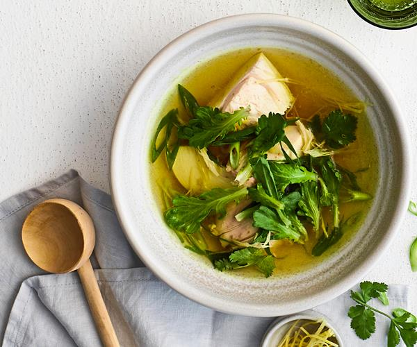 Chicken Broth With Ginger Turmeric And Lemongrass Recipe Gourmet Traveller