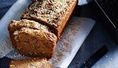 Banana cake with molasses-sugar and sesame