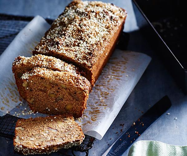 "**[Banana cake with molasses-sugar and sesame](https://www.gourmettraveller.com.au/recipes/chefs-recipes/molasses-sugar-and-sesame-banana-cake-8153|target=""_blank""