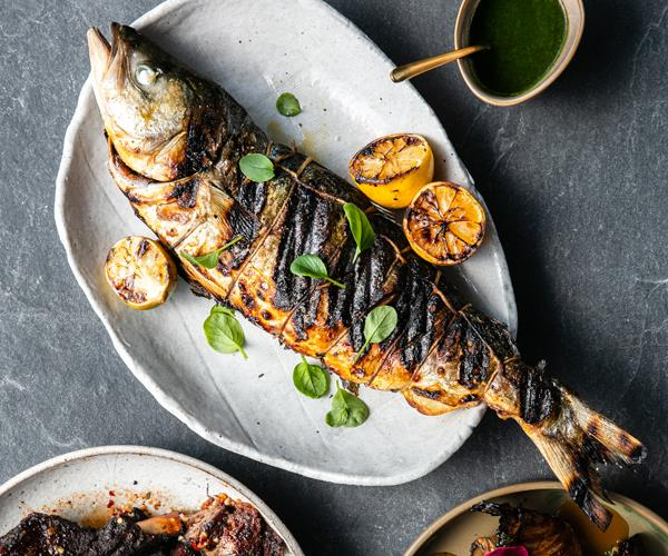 "**[Grilled fish with herb dressing](https://www.gourmettraveller.com.au/recipes/chefs-recipes/grilled-fish-with-herb-dressing-18491|target=""_blank""