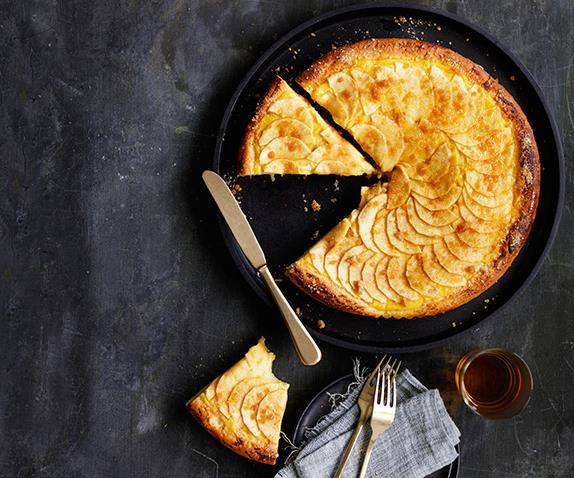 Brioche apple custard tart