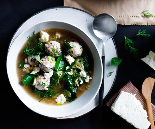 """[**Tiny chicken meatball and orzo soup with silverbeet and feta**](https://www.gourmettraveller.com.au/recipes/browse-all/tiny-chicken-meatball-and-orzo-soup-with-silverbeet-and-feta-12234