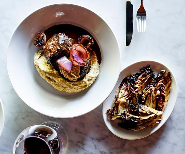 Braised beef shin with charred  onion and bagna cauda