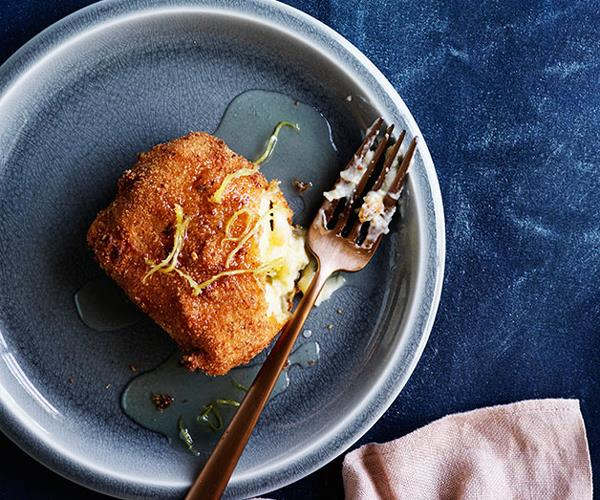 """[**Fried custard squares with ginger syrup**](https://www.gourmettraveller.com.au/recipes/browse-all/fried-custard-squares-with-ginger-syrup-12236