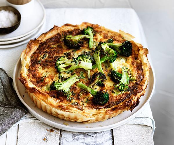 Roast broccoli and cheddar filo tart