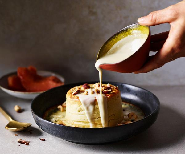 "**[Bistro Gitan's twice-baked Roquefort soufflé with poached quince](https://www.gourmettraveller.com.au/recipes/chefs-recipes/roquefort-souffle-17412|target=""_blank"")**"
