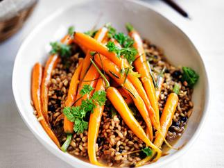 Rosemary-glazed carrots with barley pilaf