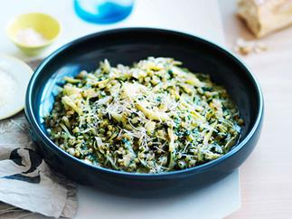 Pearl barley with artichokes, pecorino and nettle butter