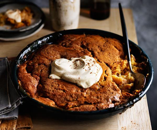 """**[Apple and candied ginger self-saucing pudding](https://www.gourmettraveller.com.au/recipes/browse-all/apple-and-candied-ginger-self-saucing-pudding-13994