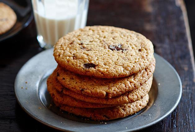 Warm choc-chip peanut butter cookies