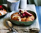 Rhubarb-hazelnut puddings with brown sugar-brandy custard