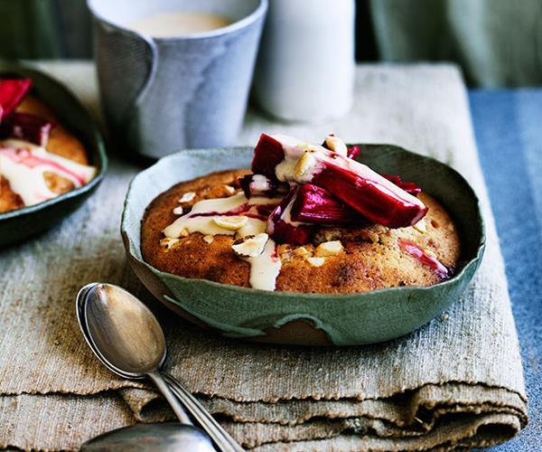 Rhubarb-hazelnut puddings with brown sugar-brandy custard