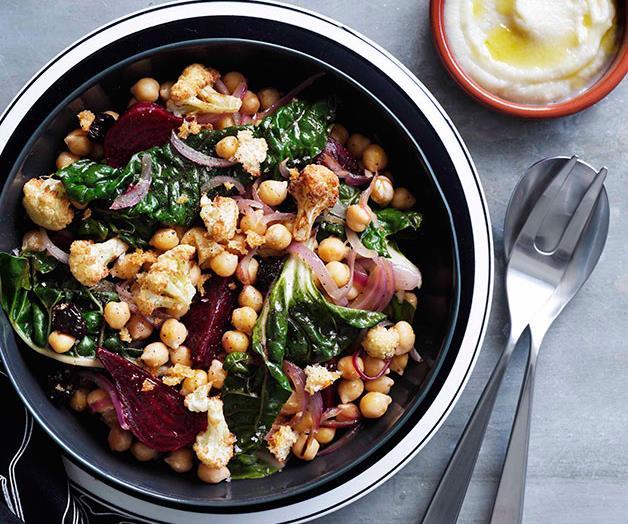 Warm cauliflower, chickpea and beetroot salad