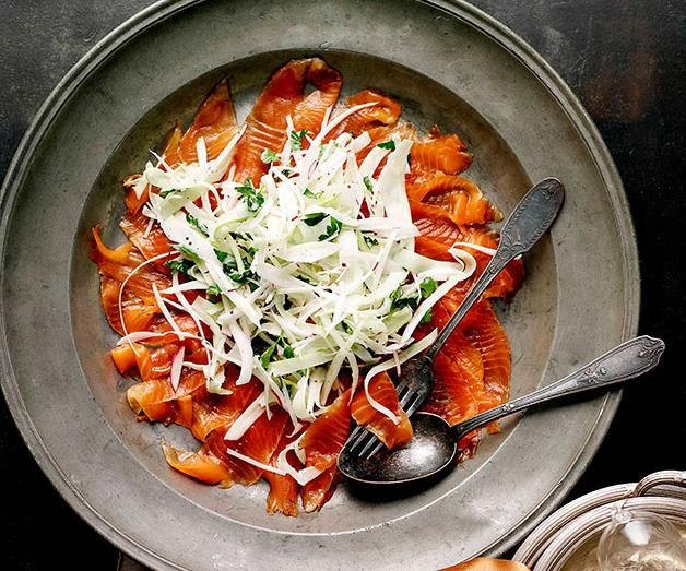 """**[Cured ocean trout with celery and fennel salad](https://www.gourmettraveller.com.au/recipes/browse-all/cured-ocean-trout-with-celery-and-fennel-salad-10606