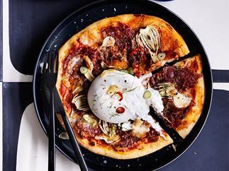Salami and fennel pizza with burrata recipe