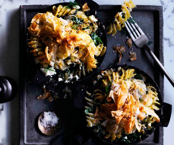 "**[Fusilli with greens, fennel and feta](https://www.gourmettraveller.com.au/recipes/browse-all/fusilli-with-greens-fennel-and-feta-12839|target=""_blank"")**"