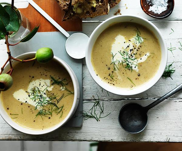 "**[Cream of fennel and potato soup](https://www.gourmettraveller.com.au/recipes/fast-recipes/cream-of-fennel-and-potato-soup-13615|target=""_blank""|rel=""nofollow"")**"