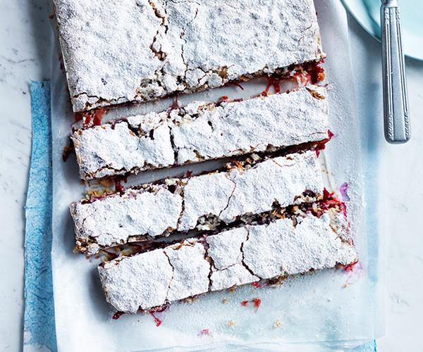 "**[Rhubarb, lime and coconut slice](https://www.gourmettraveller.com.au/recipes/browse-all/rhubarb-lime-and-coconut-slice-12249|target=""_blank""