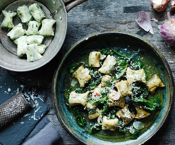 """**[Gnudi with wilted bitter greens](https://www.gourmettraveller.com.au/recipes/browse-all/gnudi-with-wilted-bitter-greens-13977