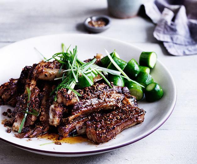 "**[Sichuan-spiced lamb ribs](https://www.gourmettraveller.com.au/recipes/browse-all/sichuan-spiced-lamb-ribs-12021|target=""_blank"")**"
