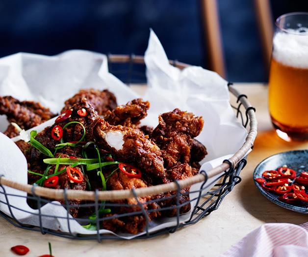 Salt-and-pepper chicken spare ribs with tamarind hot sauce