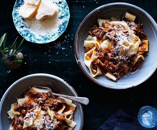 """**[Pappardelle with duck ragù](https://www.gourmettraveller.com.au/recipes/browse-all/pappardelle-with-duck-ragu-11920 target=""""_blank"""")**"""