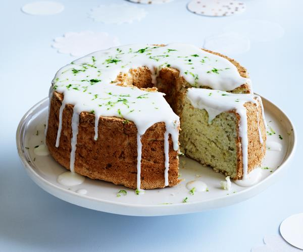 Lime and coconut angel food cake with pineapple-gin glaze