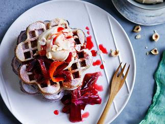 Rhubarb and custard brown-sugar waffles