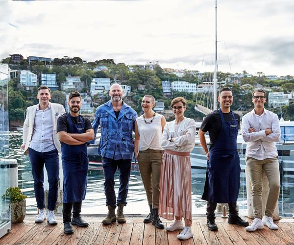 The Ormeggio 2.0 team, from left to right: Peter Sebesta, restaurant operations and cocktails; head chef Gianmarco Pardini; co-owners Alessandro Pavoni and Anna Pavoni; restaurant manager Rachele Perini, co-owner Victor Moya and sommelier Davide Coccia.