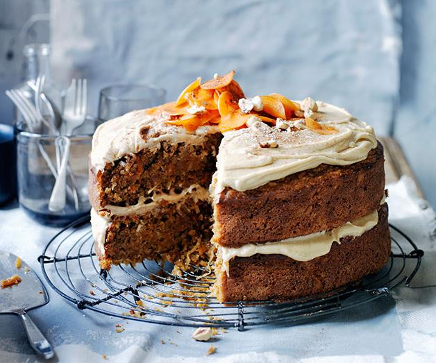 """**[Ginger-carrot cake with salted butterscotch frosting](https://www.gourmettraveller.com.au/recipes/browse-all/ginger-carrot-cake-with-salted-butterscotch-frosting-13991