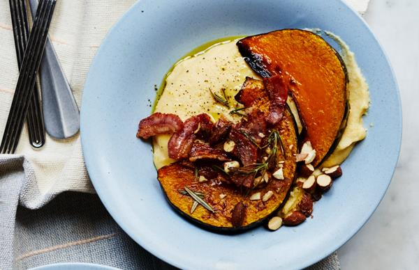 Polenta with roast pumpkin, speck and almonds
