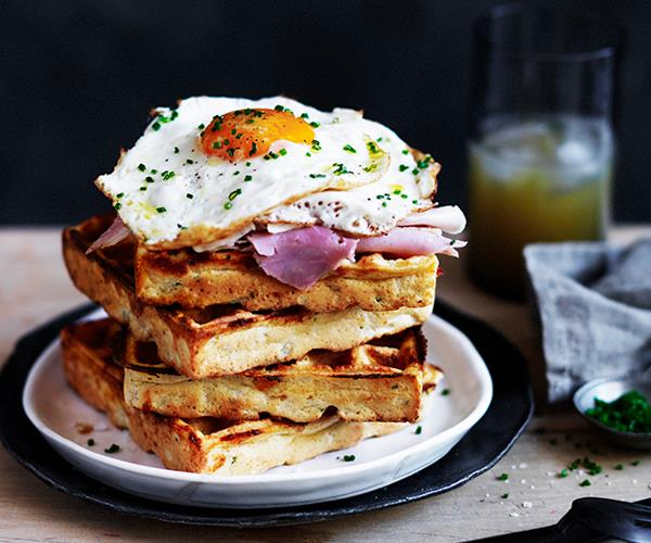 """**[Cheesy polenta waffles with fried egg and ham](https://www.gourmettraveller.com.au/recipes/browse-all/cheesy-polenta-waffles-with-fried-egg-and-ham-12521