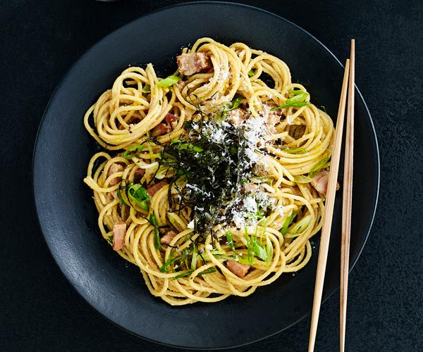 "**[Carbonara, Japanese-style](https://www.gourmettraveller.com.au/recipes/browse-all/japanese-carbonara-18647|target=""_blank"")**"