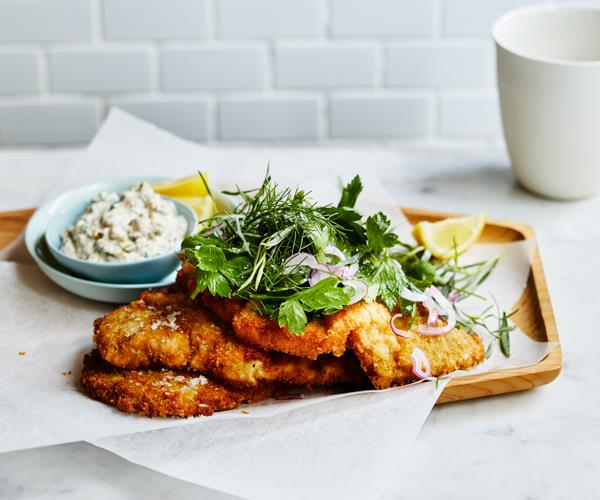 """**[Veal schnitzel with tuna sauce and herb salad](https://www.gourmettraveller.com.au/recipes/fast-recipes/veal-schnitzel-18657 target=""""_blank"""")**"""