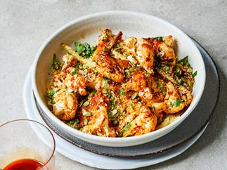 Harissa-roasted cauliflower with preserved-lemon dressing