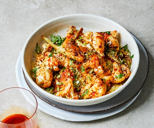 "**[Harissa-roasted cauliflower with preserved-lemon dressing](https://www.gourmettraveller.com.au/recipes/fast-recipes/roasted-cauliflower-harissa-18658|target=""_blank""