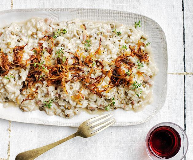 """**[Rice and lentil risotto with pancetta](https://www.gourmettraveller.com.au/recipes/browse-all/rice-and-lentil-risotto-with-pancetta-12274