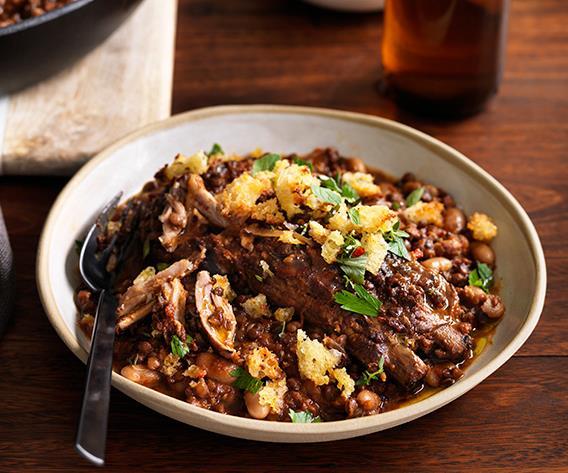 "**[Pork rib, black lentil and white bean stew](https://www.gourmettraveller.com.au/recipes/browse-all/pork-rib-black-lentil-and-white-bean-stew-12502|target=""_blank""|rel=""nofollow"")**"