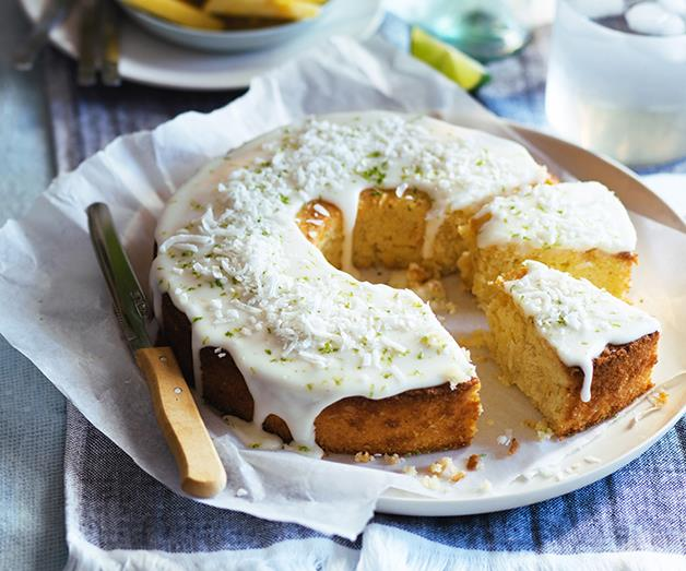 "**[Lime and coconut cake with pineapple glaze](https://www.gourmettraveller.com.au/recipes/browse-all/lime-and-coconut-cake-with-pineapple-glaze-12944|target=""_blank"")**"